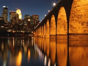 Stone Arch Bridge in Minneapolis at night